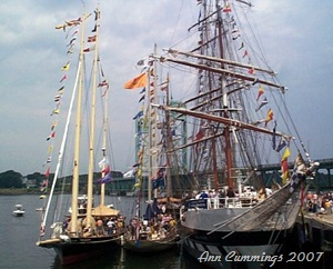 3 Tall Ships Abreast at the State Pier in Portsmouth NH - Ann Cummings July 8, 2007