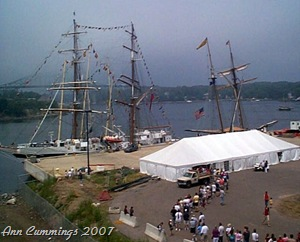 Line of People to Buy Tickets to See Tall Ships